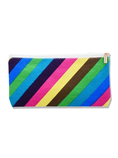 Color Block Striped Canvas Makeup Bag