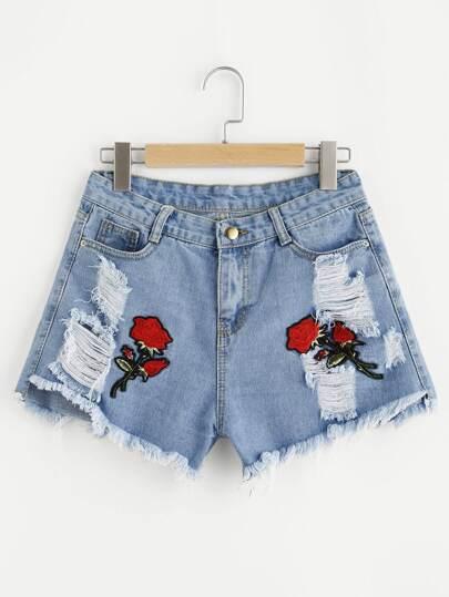 Embroidered Applique Frayed Hem Denim Shorts