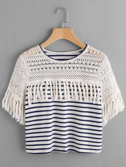 Striped Crochet Shoulder Tassel Trim T-shirt