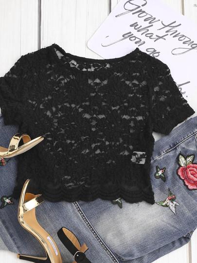 Top court bas festonné de dentelle florale - noir