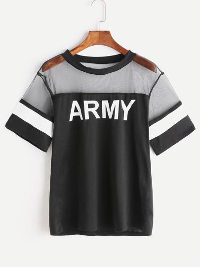 Camiseta contraste de malla con estampado de ejército