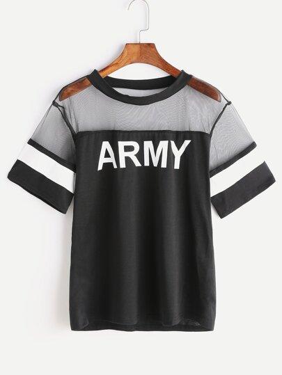 Army Print Contrast Mesh Tee