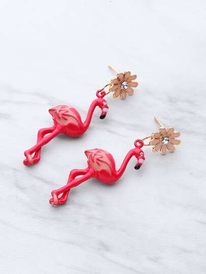 Flamingo Shaped Stud Earrings