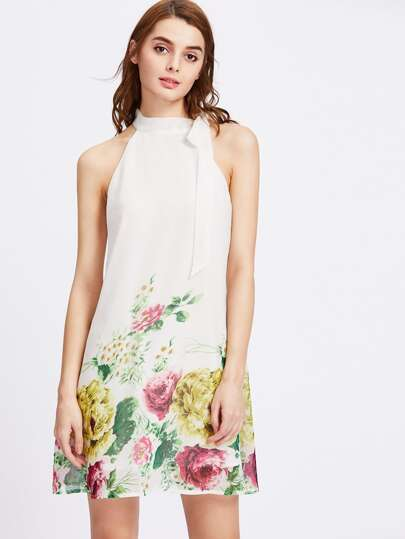 Self Tie Halter Neck Flower Print Dress