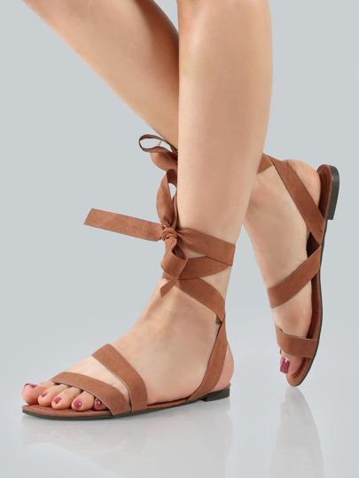 Ankle Wrap Faux Suede Sandals MOCHA