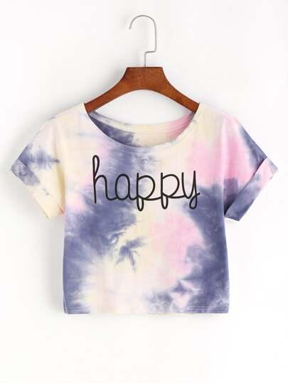 Camiseta corta con estampado de tie dye y letra