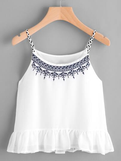 Embroidered Braided Cami Top