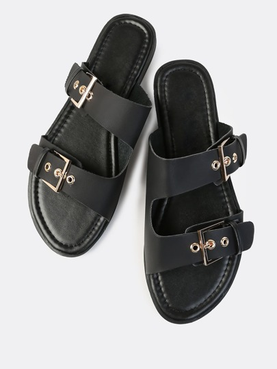 Double Band Buckle Slides BLACK