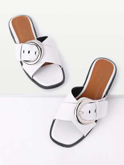 Cross Buckle Design Slip On Sandals