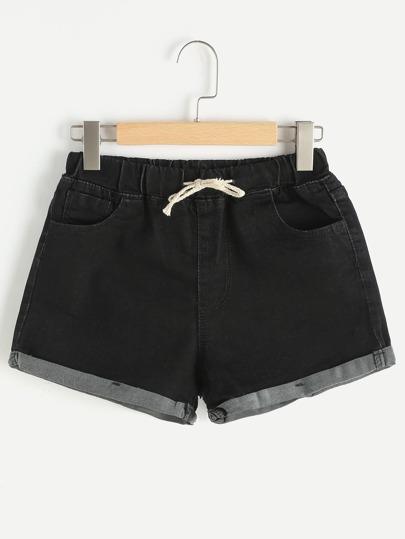 Rolled Hem Drawstring Denim Shorts