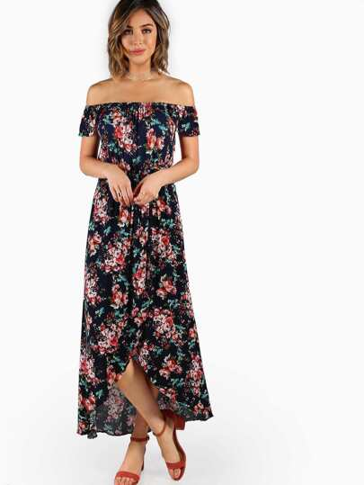 Off Shoulder Print Maxi Dress NAVY