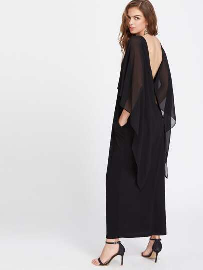 Open Back Cape Dress