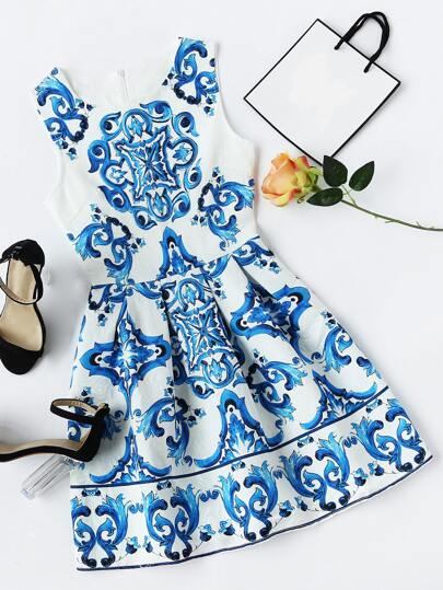 Porcelain Print Fit & Flare Dress