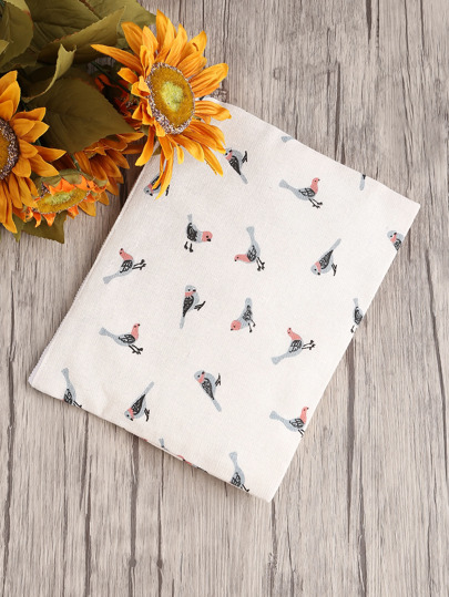 Bird Print Canvas Clutch Bag
