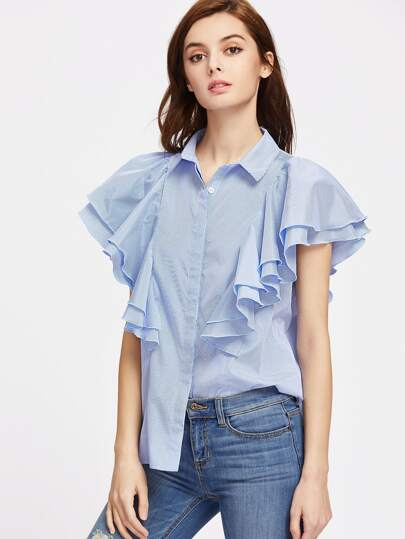 Striped Layered Ruffle Hidden Placket Blouse