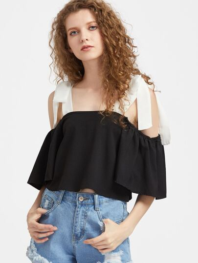 Contrast Cold Shoulder Bow Tie Top