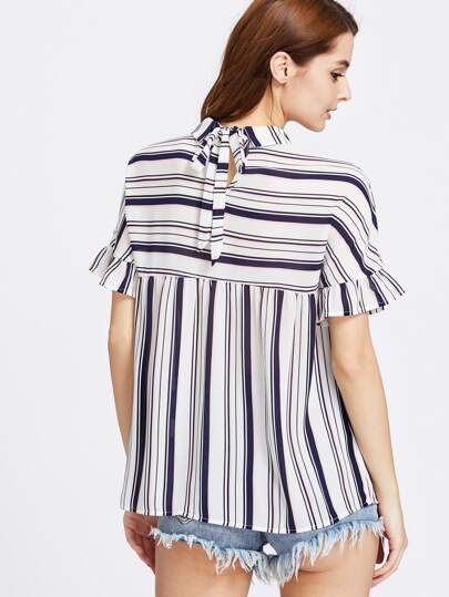 Keyhole Tie Back Ruffle Sleeve Striped Smock Top
