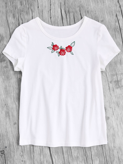 Rose Embroidered Short Sleeve Tee