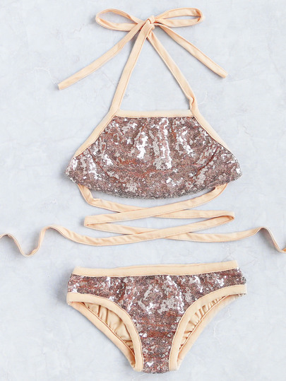 Sequin Detail Strappy Bikini Set