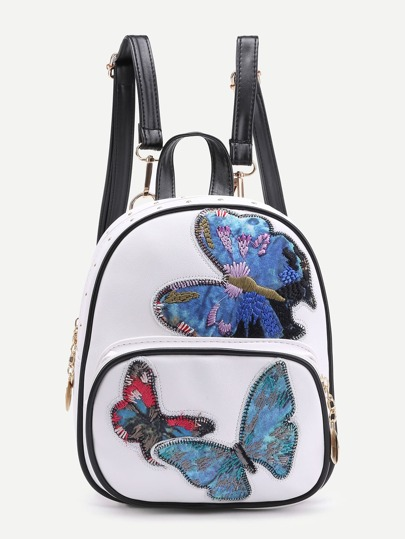Butterfly Pattern Backpack With Detachable Strap
