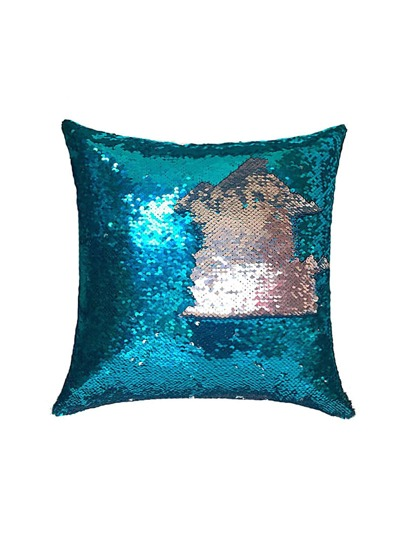 Contrast Graphic Pattern Sequin Design Cushion Cover