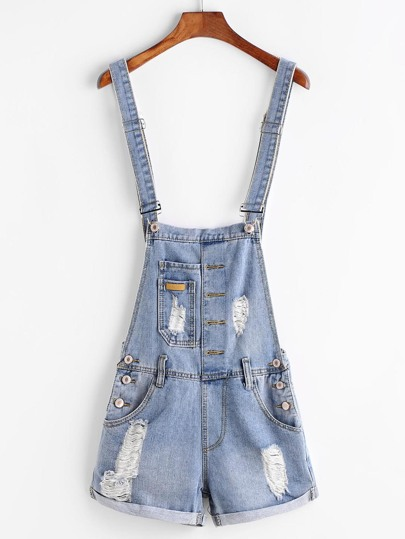Distressed Denim Overall Shorts With Pockets