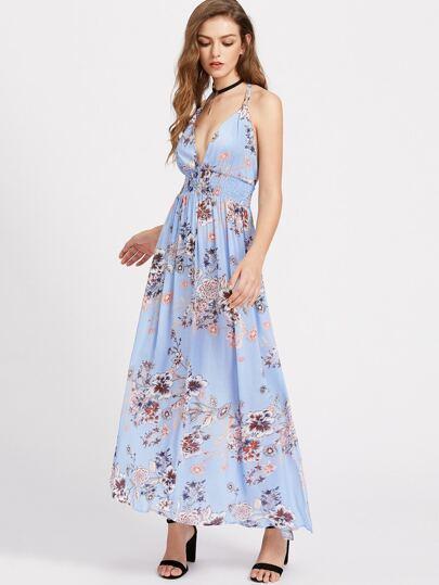 Plunging V-Neckline Elastic Waist Open Back Dress