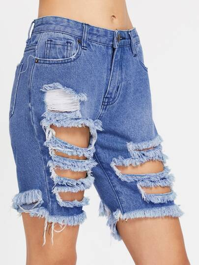 5 Pocket Distressed Denim Shorts