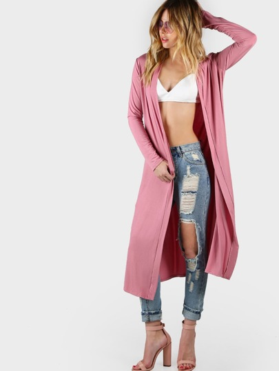 Jersey Knit Open Front Cardigan MAUVE