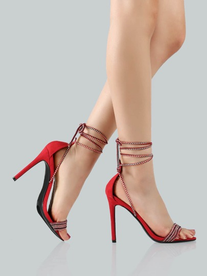 Multi Cord Ankle Heels RED