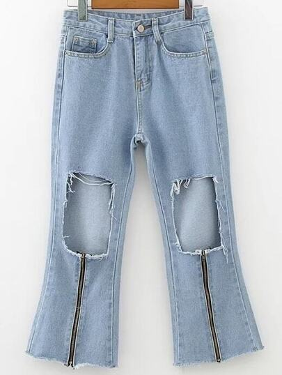 Distressed Zipper Detail Capris Jeans