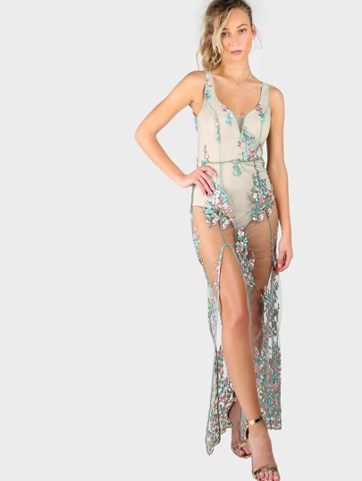 Floral Embroidered Mesh Dress MINT