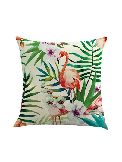 Funda de cojín con estampado de flamingo