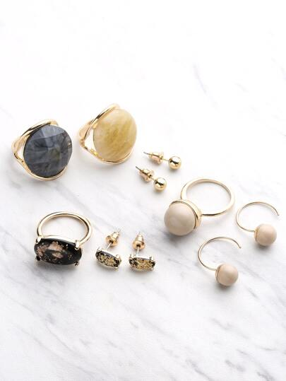 Round Shaped Stud Earrings And Ring Set