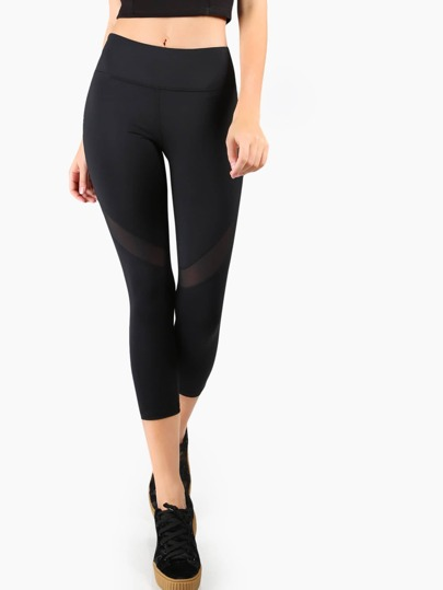 Mesh Panel Capri Leggings BLACK