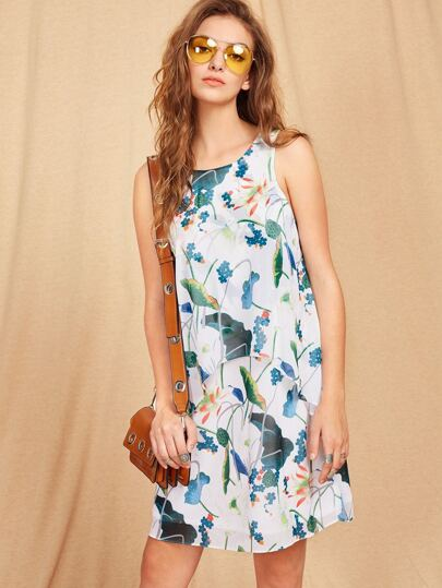 Buttoned Keyhole Back Two Layer Botanical Dress
