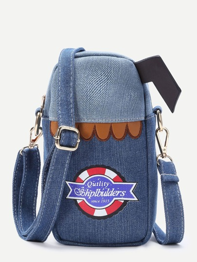Patch Design Denim Crossbody Bag