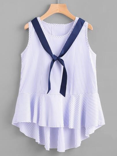 Top de rayas de espalda con cordón con corbata