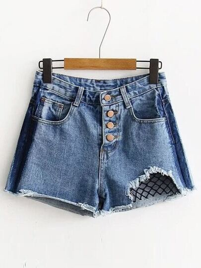 Strappato Raw Hem Open-Mesh Denim Shorts