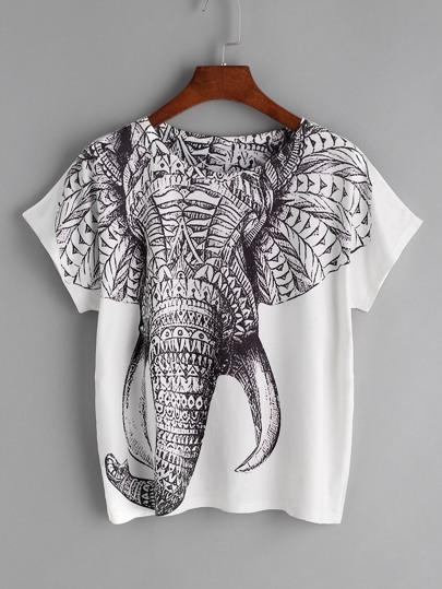 Elefant-Druck-T-Shirt - weiß