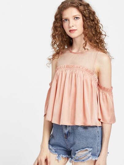 Pink Mesh Shoulder Frilled Cold Shoulder Top