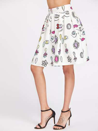 Eyes Print Zipper Back Pleated Skirt