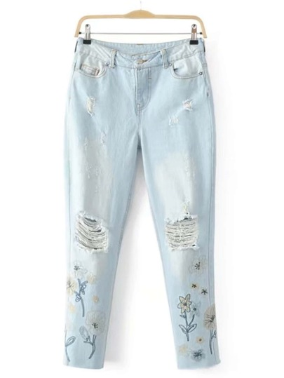 Ripped Detail Embroidery Full Length Jeans