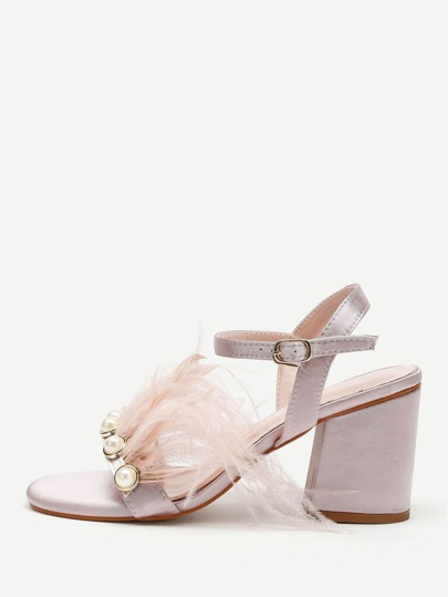 Faux Pearl And Fur Decorated Block Heeled Sandals
