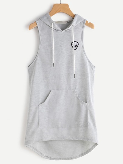 Alien Embroidered Patch Dip Hem Hooded Tank Top