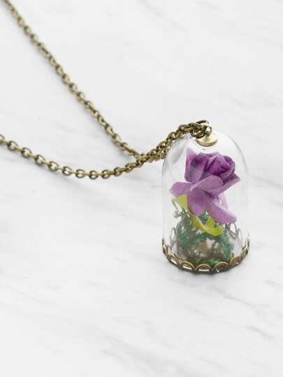 Luminous Glass Flower Pendant Necklace