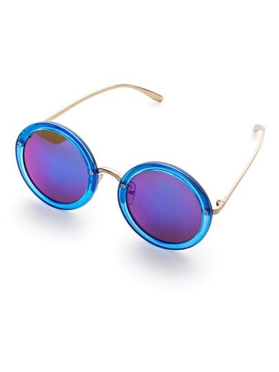 Contrast Frame Round Sunglasses