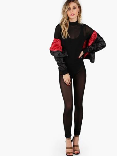 Long Sleeve Skinny Mesh Jumpsuit BLACK