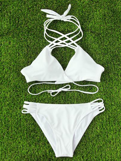 Criss Cross Strappy Wrap Bikini Set