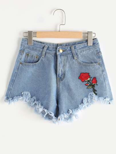 Shorts en denim bordado de borde crudo